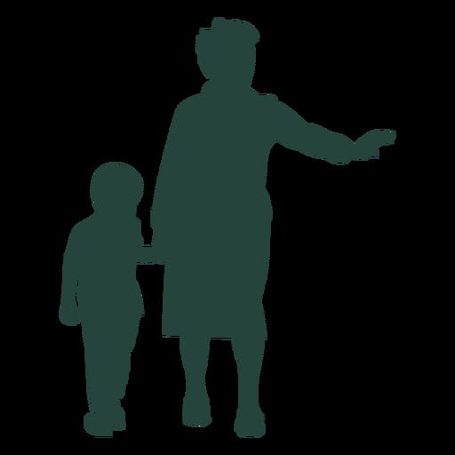 Grandma grandson walking stopping traffic silhouette