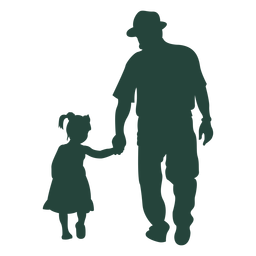 Grandpa granddaughter walking silhouette