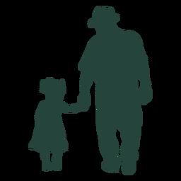 Vovô neta andando em silhueta