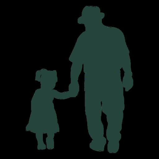 Abuelo nieta caminando silueta
