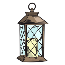 Hand drawn candle lantern