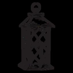 Esboço de lanterna de vela desenhada de mão