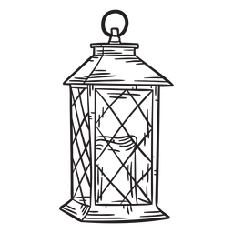 Hand drawn candle lantern outline