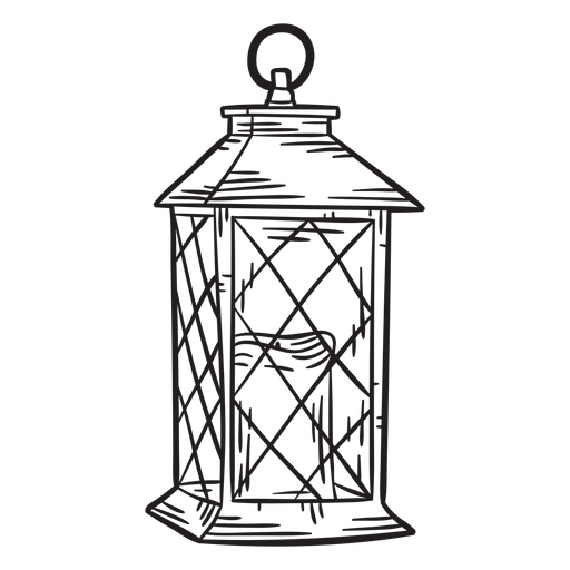 Hand drawn candle lantern outline Transparent PNG