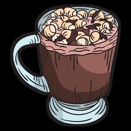 Chocolate caliente de malvavisco dibujado a mano