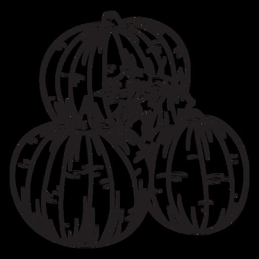 Hand drawn pumpkin outline Transparent PNG