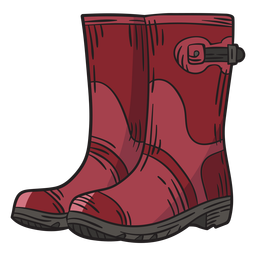 Hand drawn red work boots