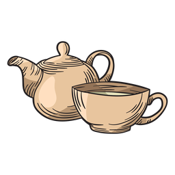 Copo de bule de chá de mão desenhada