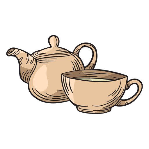 Hand drawn tea pot cup Transparent PNG