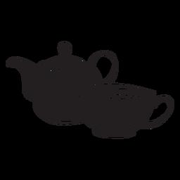 Copo de bule de chá de mão desenhada cortado