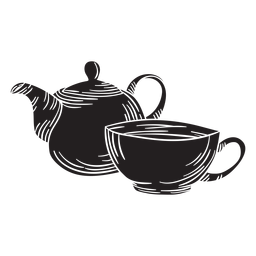 Hand drawn tea pot cup cut out