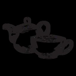 Contorno de xícara de bule de chá de mão desenhada