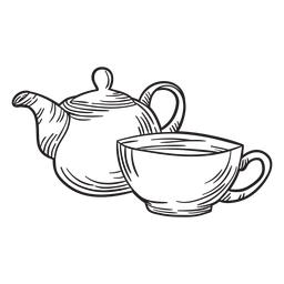 Hand drawn tea pot cup outline