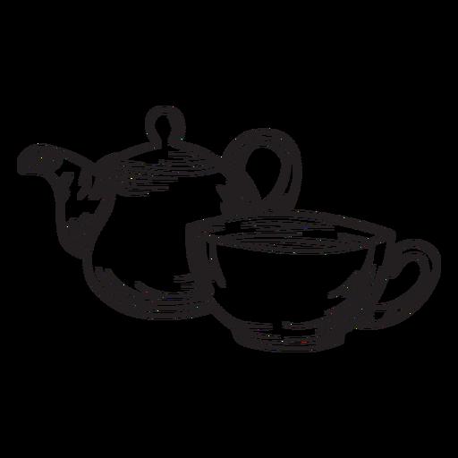 Hand drawn tea pot cup outline Transparent PNG