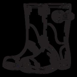 Contorno de botas de trabalho de mão desenhada