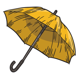 Hand drawn yellow umbrella
