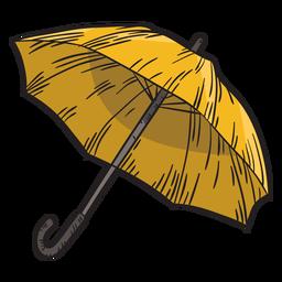 Paraguas amarillo dibujado a mano