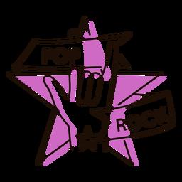Símbolo de estrella pop rock mano