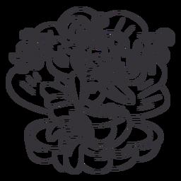 Feliz sirena sentada concha de mar contorno negro