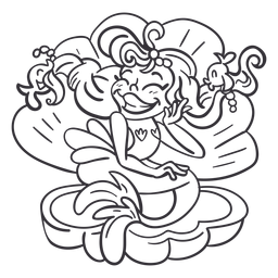 Sirena feliz sentada concha negra contorno