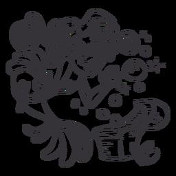 Happy mermaid treasure box black outline