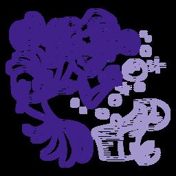 Happy mermaid treasure box purple outline