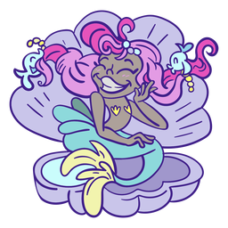 Happy pink hair mermaid sitting sea shell mermaid