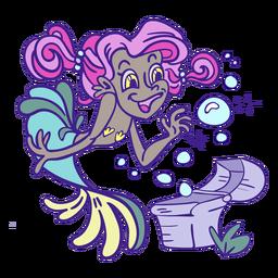 Happy pink hair mermaid treasure mermaid