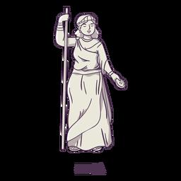 Hera desenhada à mão em cinza