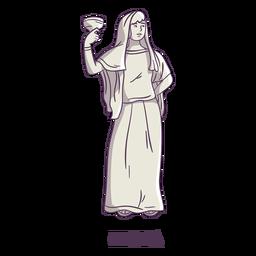 Hestia dibujado a mano gris