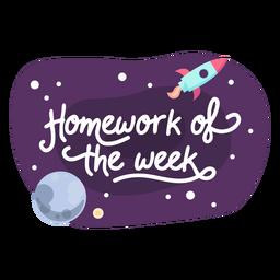 Ícone de etiqueta de espaço de semana de lição de casa