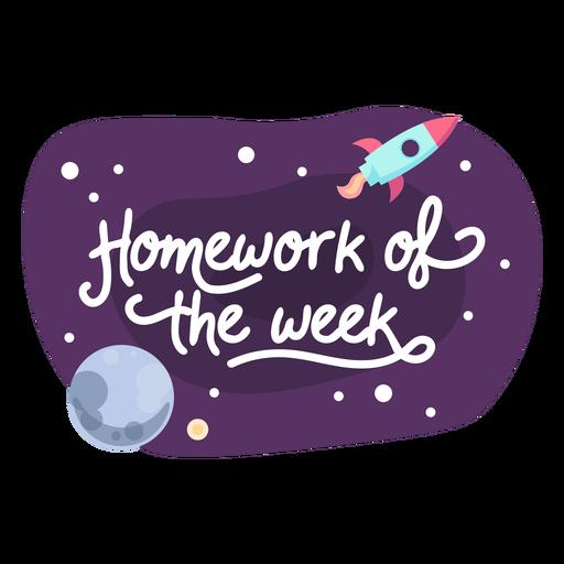 Homework week space sticker icon