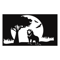Löwesafarisonnenuntergang schnitt Schwarzes heraus