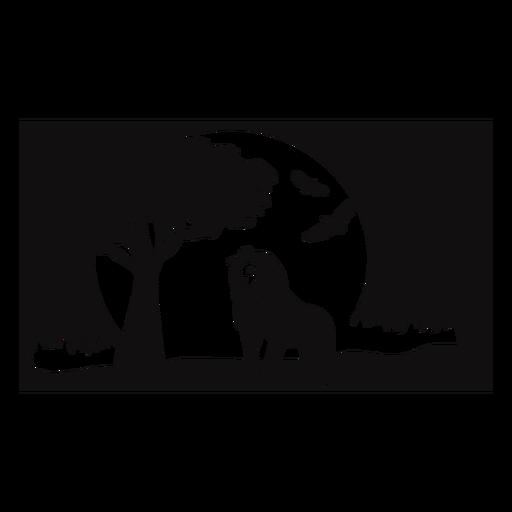 León safari atardecer recortado negro Transparent PNG