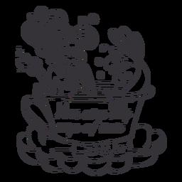 Xícara de chá de sereia tomando chá contorno preto