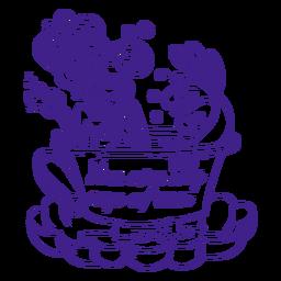 Xícara de chá de sereia tomando chá contorno roxo
