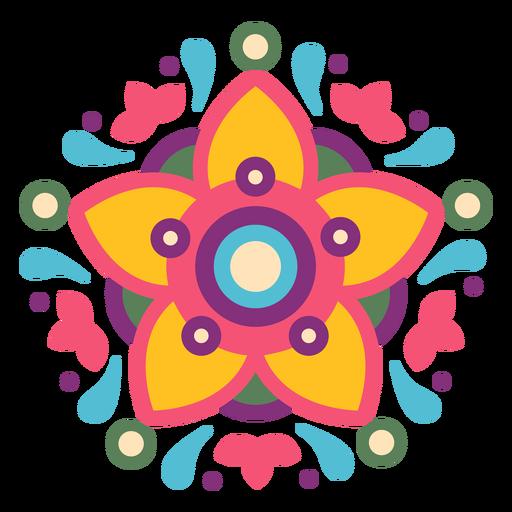 Mexican floral symbol composition Transparent PNG