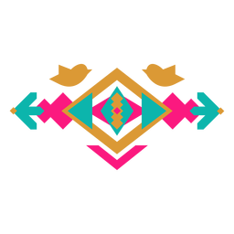 Composição geométrica mexicana de pássaros