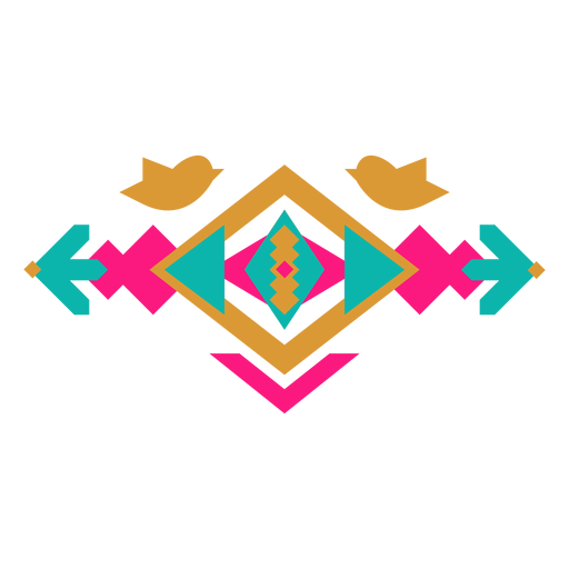 Mexican geometric bird composition Transparent PNG