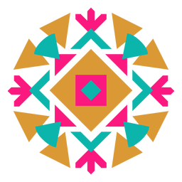 Mexican geometric round kaleidoscope composition