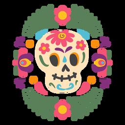 Mexican skull mask emblem