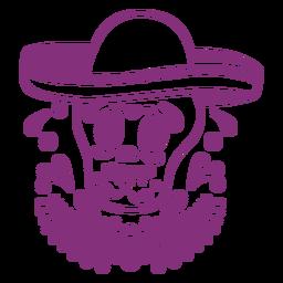 Cráneo mexicano papel picado sombrero