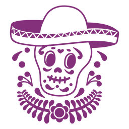 Mexican skull papel picado sombrero