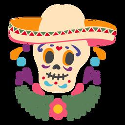 Emblema de sombrero de calavera mexicana