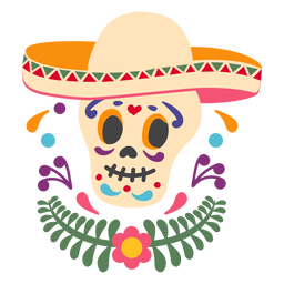 Mexican skull sombrero emblem