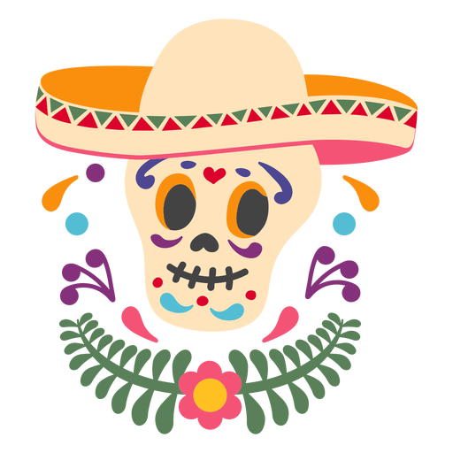 Mexican skull sombrero emblem Transparent PNG