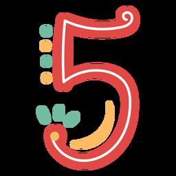 Nummer fünf Schriftzug im mexikanischen Stil