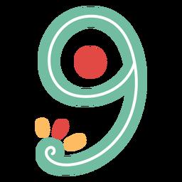 Nummer neun Schriftzug im mexikanischen Stil