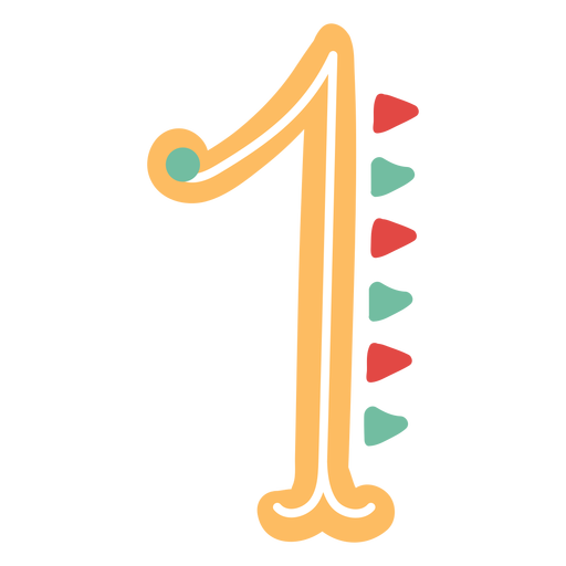 Mexican style number one lettering Transparent PNG