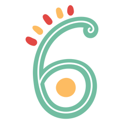 Mexican style number six lettering